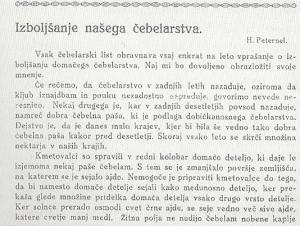 Del prvega članka Henrika Peternela v Slovenskem čebelarju